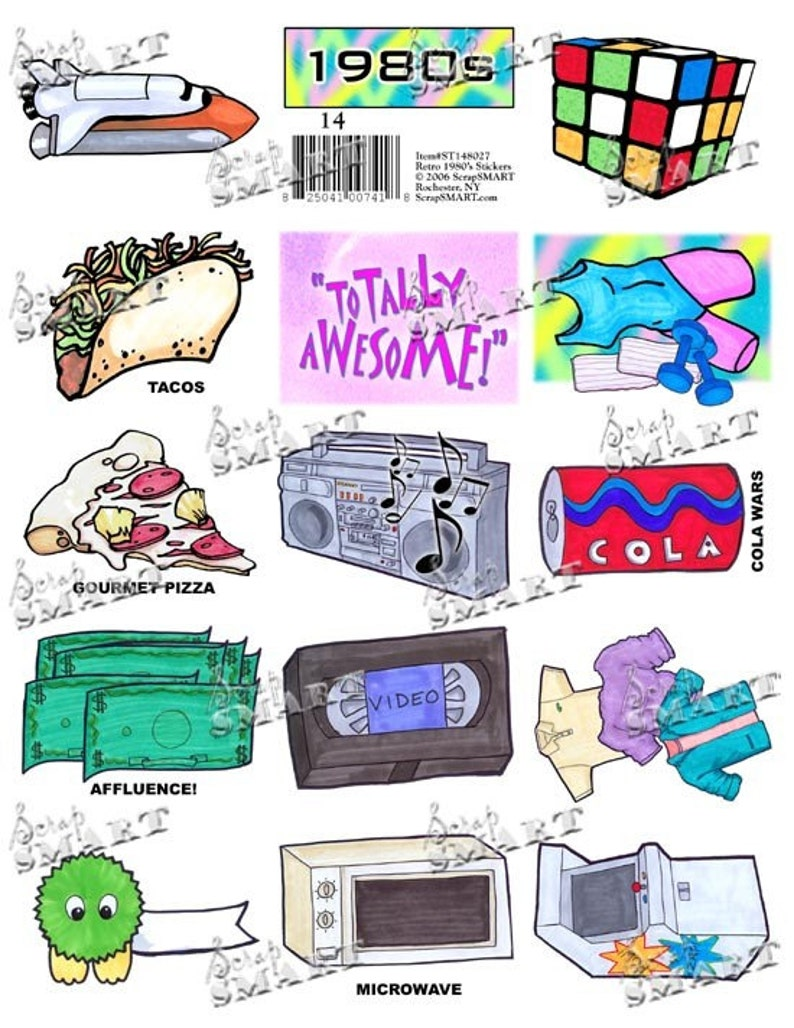 Retro 1980s - 14 images of the 80s - arcade game, rubix cube, and more on a  Digital Collage Sheet Download - ST148027
