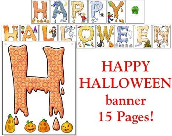 Happy Halloween Banner-15 Pages in a Digital Download - DLHLWNKIT03