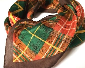Vintage Oscar de la Renta ~ foulard carré en soie ~ couleurs automnales ~  foulard à carreaux ~ Brown Plaid ~ mode automne ~ foulard en soie ~ foulard  Tartan b6c74f52e17