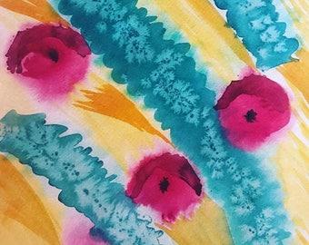 Flying Poppies original watercolor painting