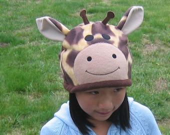 Giraffe Fleece Hat - Baby Toddler Children Adult Animal Fleece Hat/Beanie, Baby Infant Toddler Giraffe Hat, Animal Hat, Adult Animal Hat