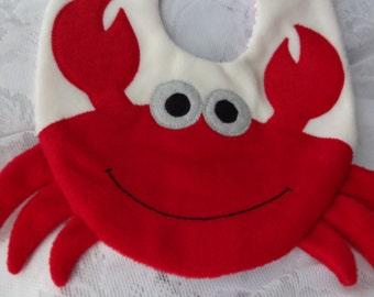 Crab Bib, Infant Baby Bib, Animal Reversible Fleece Bib, Animal Bib, Baby Shower Gift, Baby Bib, Newborn Gift, Newborn Toddler Bib