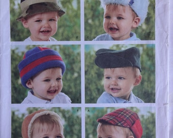 Simplicity 3555 Sewing Pattern, Babies' Infants' Toddlers' Hats, Winter Fleece Hats  Size XS, S, M, L