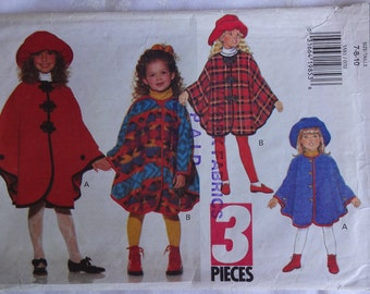Butterick 3581 Sewing Pattern Children's Girls' Cape in Size 7,  Hat in Size S, M, L