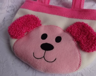 Puppy Purse, Pink Puppy Bag, Toddler Girl Children Purse, Animal Fleece Purse, Bag, Child Animal Purse, Animal Bag, Girls Purse, Treat Bag