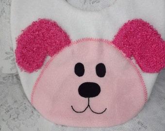 Puppy Bib, Infant Baby Bib, Animal Reversible Fleece Bib, Animal Bib, Baby Shower Gift, Baby Bib, Pink Dog Bib, Newborn Gift, Toddler Bib