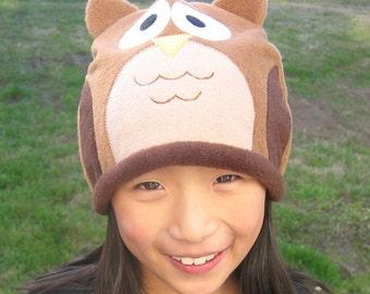 Owl Fleece Hat - Baby Toddler Children Adult Animal Fleece Hat/Beanie, Baby Infant Toddler Owl Hat, Animal Hat, Adult Animal Hat