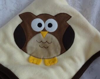 Owl Infant Baby Blanket, Baby Fleece Blanket, Animal Fleece Blanket, Baby Shower Gift, Owl Blanket, Car Seat Blanket, Owl Applique Blanket