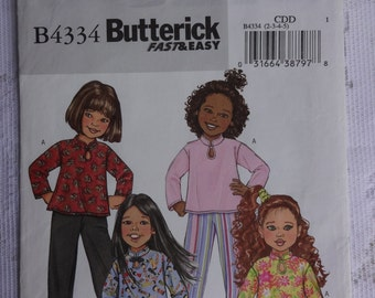Butterick 4334 Nähen Muster Kinder Mädchen Top, Kleid, Rock und Hose Größe 2, 3, 4, 5