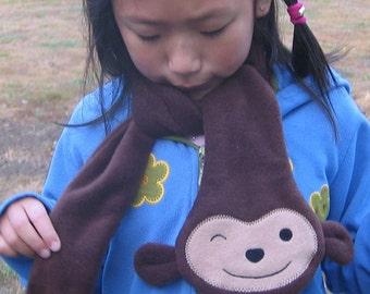 Monkey Scarf, Toddler Children Scarf, Fleece Scarf, Child Animal Scarf, Animal Fleece Scarf, Winter Scarf, Fleece Animal Scarf