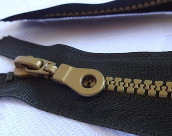 "17"" Dark Olive Green Molded Plastic Closed Buttom Zipper, Olive Green Color Zipper with Pull, Closed Buttom Zipper, Bag, Purse Zipper"