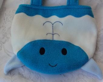 Whale Purse, Blue Whale Bag, Toddler Girl Children Purse, Animal Fleece Purse, Bag, Child Animal Purse, Animal Bag, Girls Purse, Treat Bag
