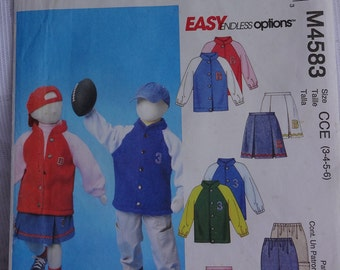 McCalls M4583 Sewing Pattern Children's Boys' and Girls' Unlined Team Jacket, Pleated Skirt, Cargo Pants, Size 3, 4, 5, 6