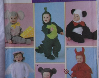 Simplicity 4460 Babies' Toddler's Costumes,  Angel, Devil, Mouse, Dinosaur, Panda, Elephant Jumpsuit, Hood, Booties, Size 1/2, 1, 2, 3, 4