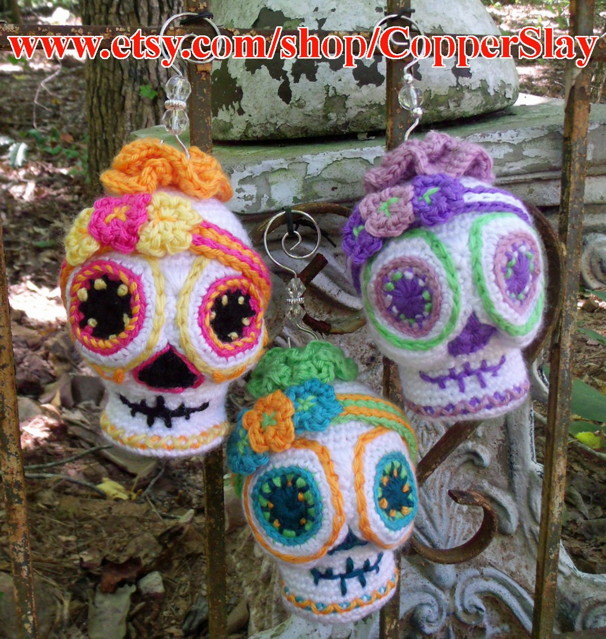 Sugar Skull Crochet Pattern Amigurumi Day of the Dead Halloween crochet ornament decor doll SugarSpun Skullz by CopperSlay