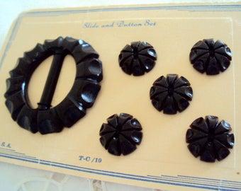 vintage Black Button Buckle set - deeply carved Art Deco 1920's