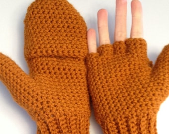 Convertible Mittens in Burnt Orange, Flip Top Mittens, Fingerless Gloves With Mitten Flap, Womens Winter Mittens, Rust Orange