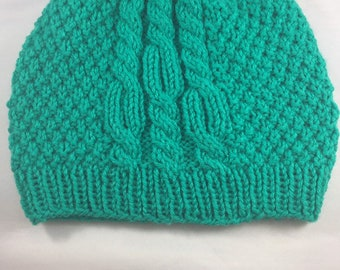 Bright green cabled hat, winter hat, unisex warm hat, adult knit hat, soft hat, teal yarn hat