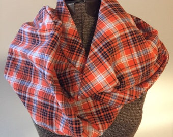 Orange and navy plaid sewn infinity scarf with zipper pocket, long infinity scarf, flannel scarf, winter accessory for women, fall scarf