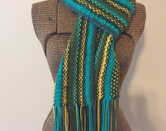 Long fringed scarf, linen stitch scarf, hand knit scarf, green scarf, scrappy scarf, adult scarf