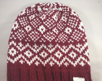 White and red hat, winter hat, unisex warm hat, adult knit hat, warm colorwork hat for winter