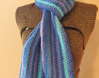 Long fringed scarf, linen stitch scarf, hand knit scarf, blue, purple, pink, cotton candy scarf, scrappy scarf