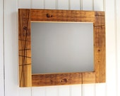 Reclaimed Wood Mirror // 11 x 14 // Rustic Old Growth Douglas Fir