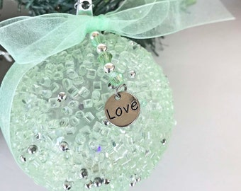 "BEACH CHRISTMAS LOVE  charm ornament, sea foam green ornament, heart charm ornament, puff heart ornament, coastal Christmas ornament, 3.75"""