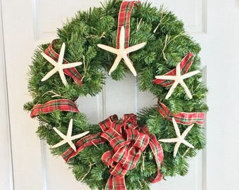 Nautical Christmas Wreath.Items Similar To Beach Decor Christmas Wreath Starfish