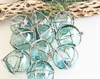 "BEACH CHRISTMAS ornament,AUTHENTIC Glass Float Ornament, vintage aqua/green Japanese fishing float, nautical, coastal Christmas, 2.5"""