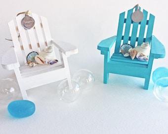 "BEACH WEDDING FAVOR, Adirondack chair ornament, optional personalized charm, bride/groom/date, beach chair favor, nautical, coastal, 3.5"""
