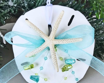 "BEACH DECOR CHRISTMAS Sand Dollar Ornament #5, starfish ornament, lime/aqua bead ornament, coastal ornament, nautical ornament, 3.5"""