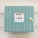 BABY BOOK | Pool Herringbone Stripe Album | Ruby Love Modern Baby Book