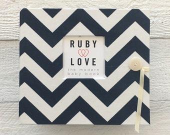 BABY BOOK | Navy Chevron Stripe Album