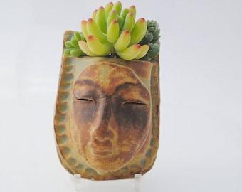 ceramic face planter, garden art mask, wall planter, buddha wall pocket