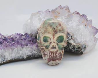 ceramic pendant, skeleton necklace, skull pendant, skeleton bead, dia de los muertos