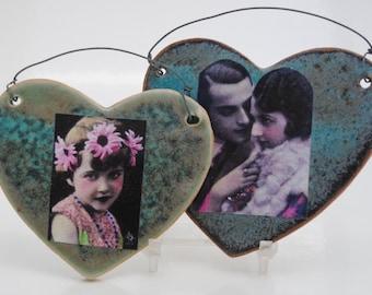 ceramic pottery  tile, stoneware heart, mixed media tiles, set of two heart tiles