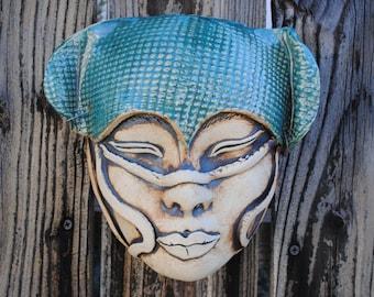 ceramic mask, sculpture, fine art, wall decor mask