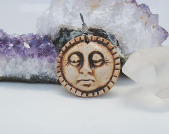 ceramic face pendant, clay necklace, ornament, small face mask, focal bead