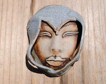 ceramic mask, sculpture art, clay face, fine art, wall decor