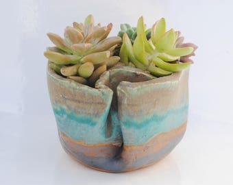 ceramic planter pot, garden plant bowl, window garden, wabi sabi planter