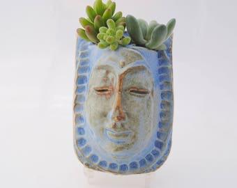 ceramic face planter, garden art mask, wall plante,r buddha wall pocket