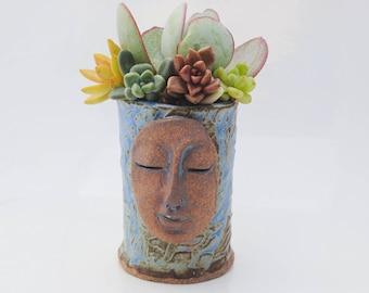 ceramic planter pot, tiny garden, buddha head planter