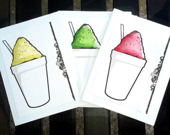 New Orleans snoball Note Cards set of 5 blank w envelopes