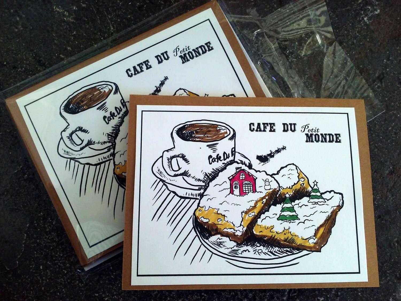 Cafe Du Petit Monde beignets New Orleans Christmas Card | Etsy