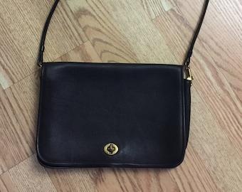 9815326b28 The Vintage Dark Chocolate Brown Leather Coach Shoulder Bag Clutch