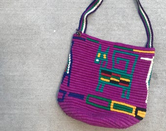 The Vintage Purple Inka Crossbody Knit Bag