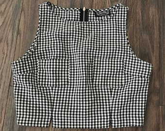 Vintage Black and White Gingham Sleeveless Crop Top Size Medium