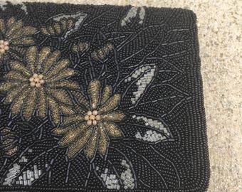 The Black Formal Beaded Flower Clutch Purse