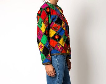 The Vintage Colorblock Flower Knit Crocheted Sweater